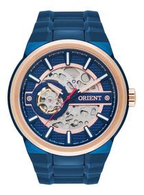 Relógio Orient Masculino Automático Nh7br001 Azul Esqueleto