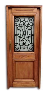 Puerta De Frente, Estilo Antiguo Nro-16. Madera De Cedro. Reja Artística. Tallada A Mano. Todo En Cuotas Sin Interés !!