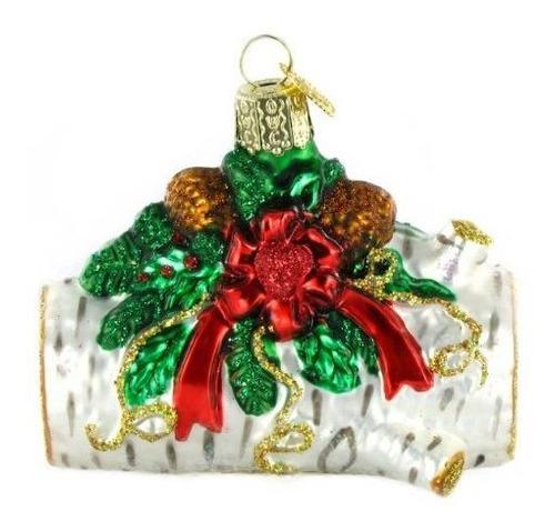 Viejo Mundo De Navidad Tronco Vidrio Soplado Ornamento
