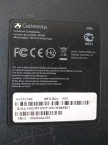 Carcaça Completa Do Notebook Gateway Model Pew91 + Cabo Flat