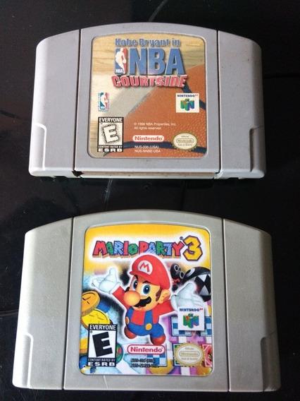 Lote Mario Party 3 + Nba Courtside Originais Nintendo 64 N64