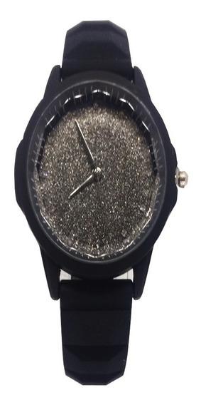 Relógio Feminino Delicado Pulseira Preta Brilhante Glitter