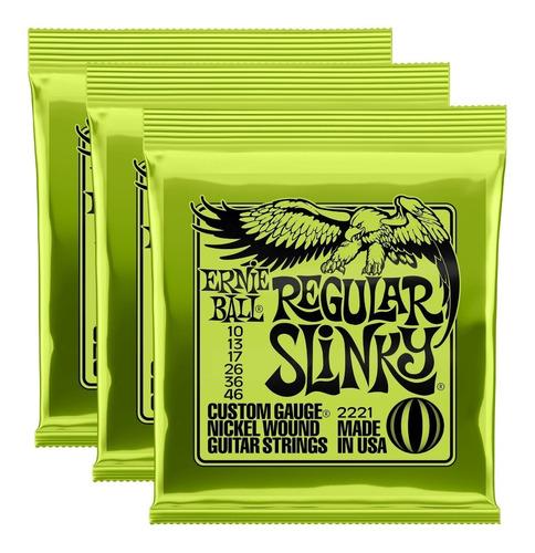Imagem 1 de 5 de Corda Ernie Ball Regular Slinky 010 Guitarra Kit C/ 3 Jogos