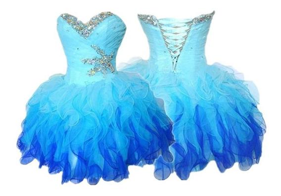 Vestido De 15 Años Alquilo Gasa Azul Corto