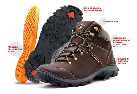 Bota Cuturno Adventure Trilha Palmilha Gel Atron Shoes Couro