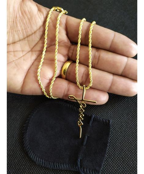 Cordão Banhado A Ouro 18k 60 Cm Com Pingente Jesus Cruz + Garantia De 1 Ano