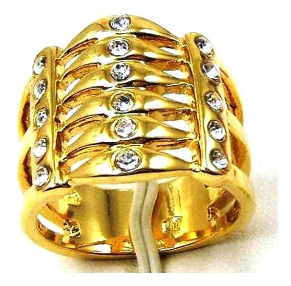 Anel Aliança Quartzo Diamante Ouro18kplated 918 W