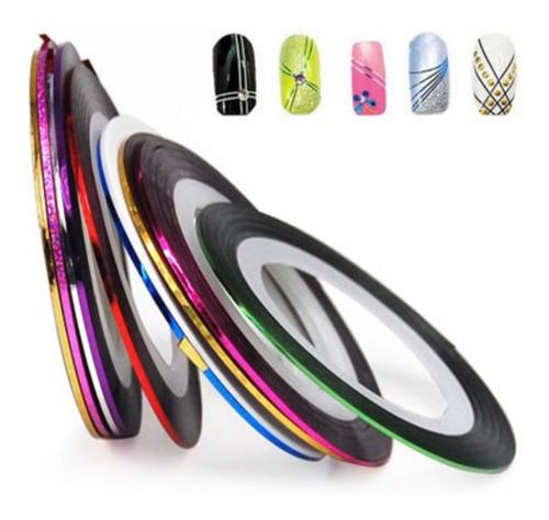 Imagen 1 de 6 de ¡ Kit 12 Cintas Nail Art Tirillas Adhesivas Decorar Uñas !!