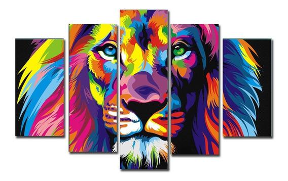 Cuadro León Colores Animales Tigre Elefante 150x100 Poli