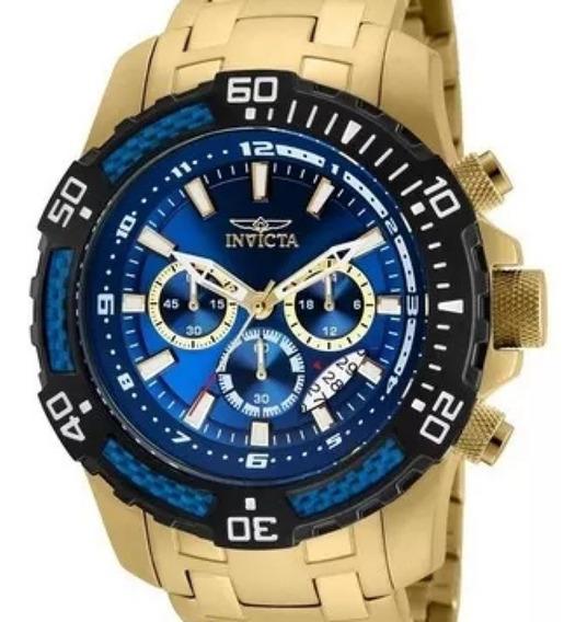 Relógio Invicta Pro Diver 24856 Original 51mm B. Ouro 18k