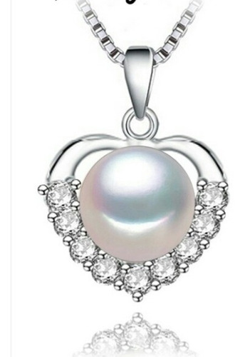 Collar Amor Mujer Mujer Perla Zirconias Plata 925