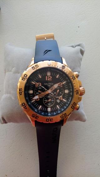 Reloj Náutica Bisel Color Oro Rosa Correa Negra Grande 52mm