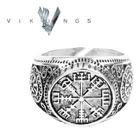 Anel Viking Ragnar Templário Amuleto Bússola Ajustável