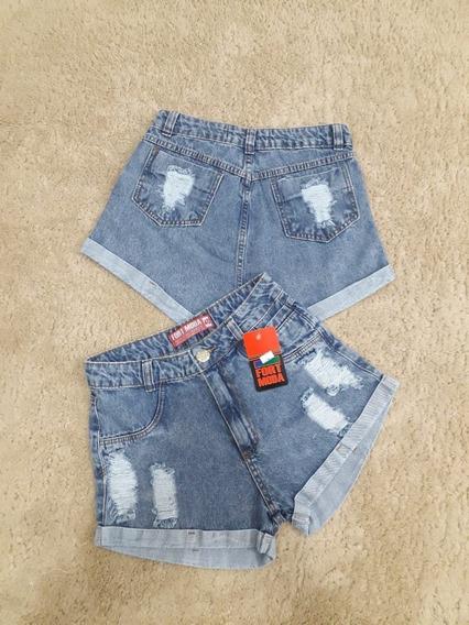 Kit 3 Shorts Bermudas Jeans Sexy Luxo Feminino Destroyed Cintura Alta Hot Pant Estilo Anitta Você Escolhe Os Modelos