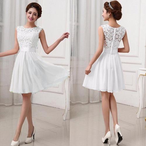 Vestido Blanco Fashion Bordado Chiffon+lace Fiesta Grados Co