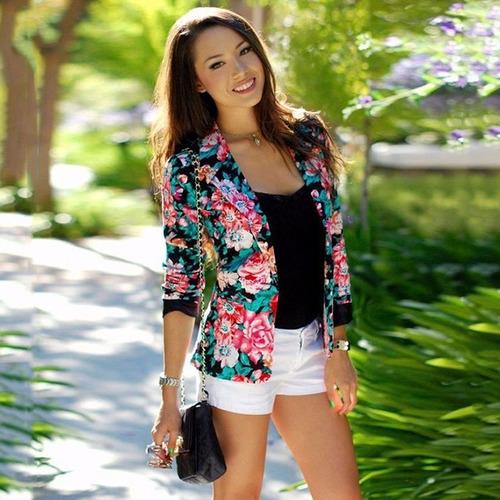 Chaqueta Blazer Fashion Floral Casual Peony Flower One Butto
