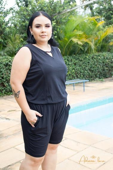 Macaquinho Feminino Liso Plus Size Malharia Cós Alto G1 G2