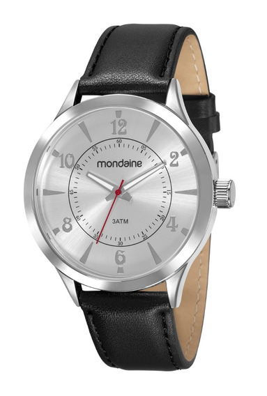 Relógio Mondaine Masculino Analógico Prata Couro Garantia