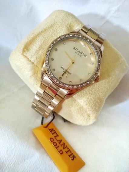 Relógio Atlantis Feminino Dourado G3476
