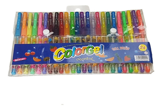 Canetinhas Gel Neon Estojo 24 Unidades Glitter Cheiro Fruta