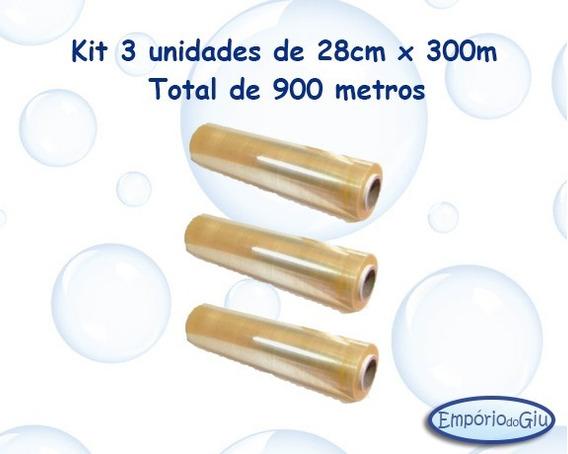 Filme Pvc 28cmx300m ( Kit 3 Unds Total 900 Metros )