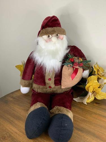 Imagem 1 de 8 de Papai Noel Sentado Em Tecido 85cm Natal