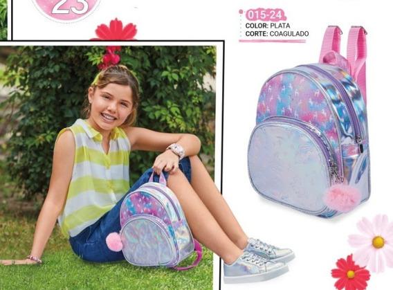 Bolsa Back Pack Para Niña Plata 015-24 Cklass Kids 1-20 J