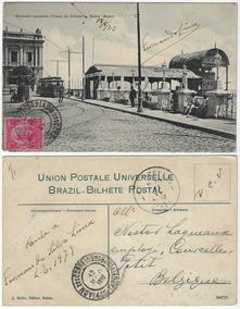 Ba 1912 Cartão Postal Elev. Lacerda Praça Conselho Salvador