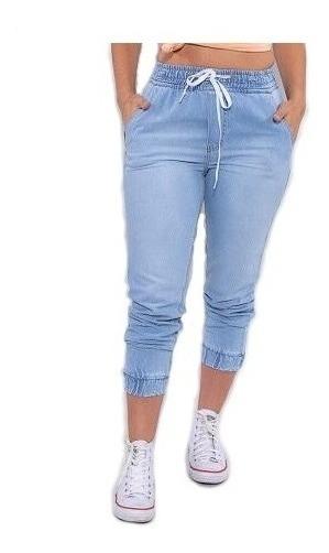 Calça Jogger Jeans Feminina Destroyed Cintura Alta Jog03