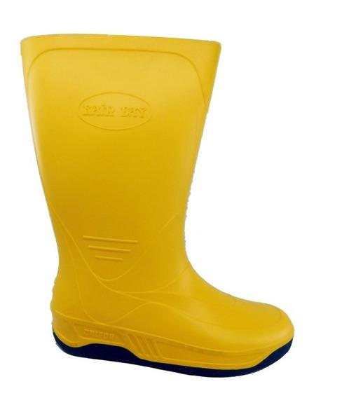 Bota De Lluvia Media Caña Azul O Amarillo - Talles 37 Al 44