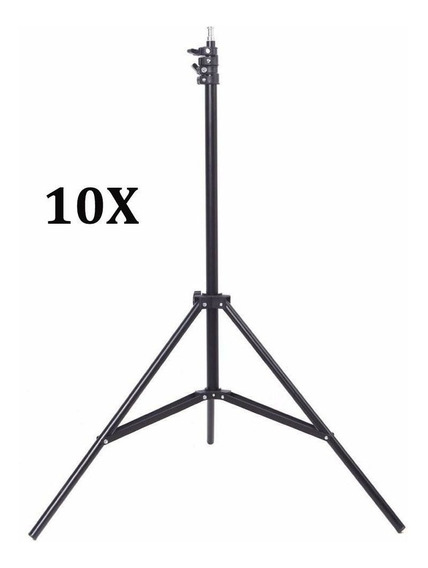 Kit 10x Tripé Iluminação Estúdio 2m P/ Led Flash E Softbox
