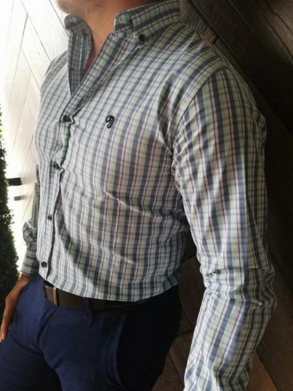 Camisa Casual Johans Slim Fit Con Cuadros Azules