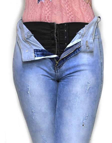 Calça Jeans Azul Rasgada 704 Super Lipo Croped Laicra Lycra Rasgada Detonada Pern Tamanho 36