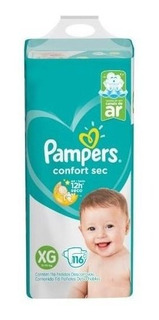 Pampers Pañales Confort Sec Xg 116 Unidades (12 A 15kg)