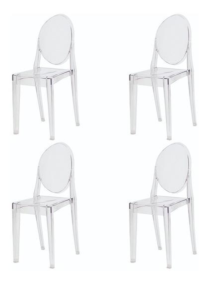4 Cadeiras Mesa Sala De Jantar Miss Sofia Transparente