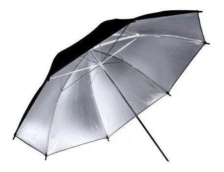 Sombrinha Refletora Preta Prata 91cm / Sombrinha Rebatedora