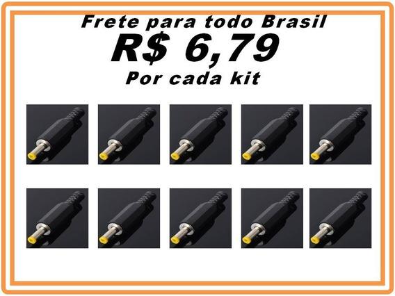 Plug Conector Para Fonte Dvd Portatio 4,0x1,65mm Kit 10 Pçs