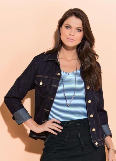 Jaqueta Jeans Escuro Com Elastano