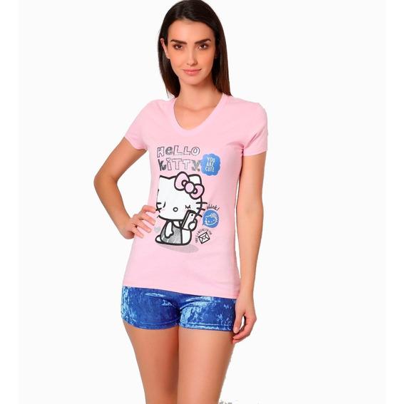 Pijama Dama Hello Kitty Sanrio Blusa Y Short Terciopelo 5003