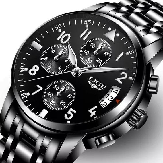 Relógio Masculino Lige Preto Luxo Original Promoção! Barato!