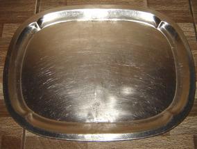 Bandeija De Aço Polido 33x43 Cm Peça Antiga