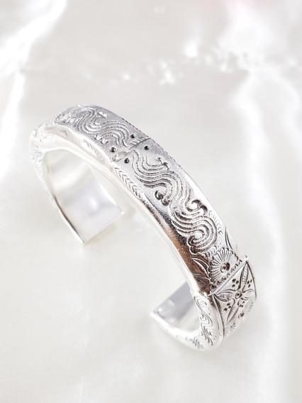 Bracelete De Prata 925 Bem Grande E Vistoso Todo Desenhado!