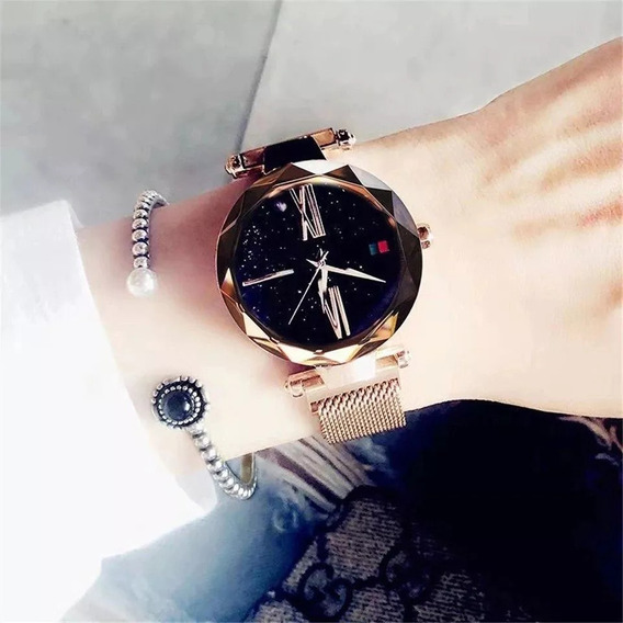 Relógio Original Feminino Céu Estrelado Fecho Imã Magnética