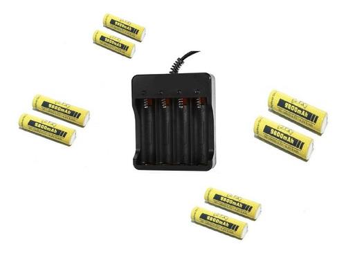 Imagem 1 de 1 de Kit Carregador + 8 Baterias 18650 3,7/4,2v 9800mah Jyx