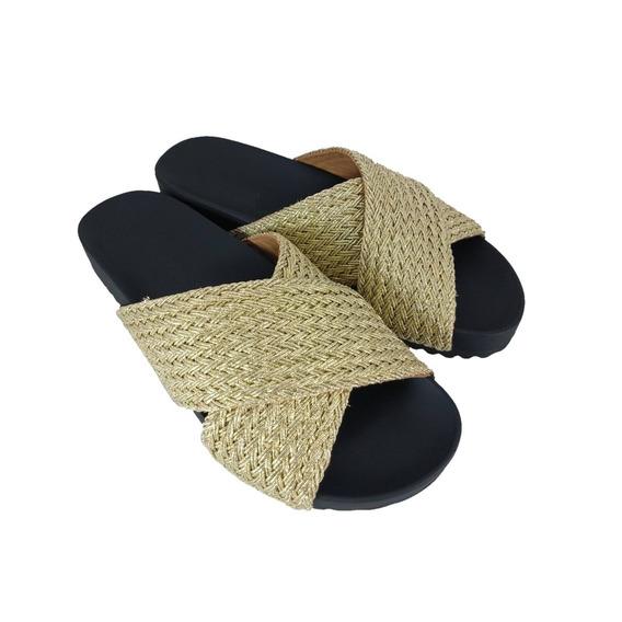 Chinelo Tiras Sapatoweb Tranças Ouro - W37551our