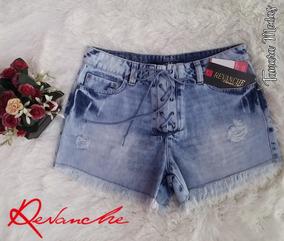 Shorts Jeans Claro Revanche De Amarrar Na Frente Tamanho 40