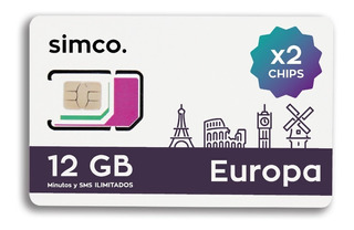 X2 Chips Plan Europa C/u 12 Gb + Min + Sms