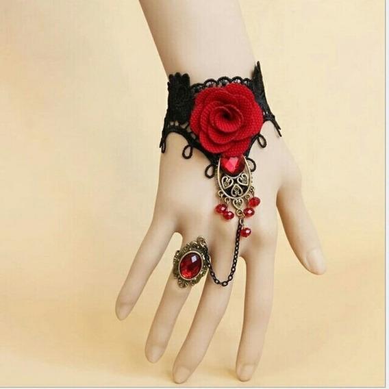 Pulseira Estilo Gótico Rosa Com Anéis