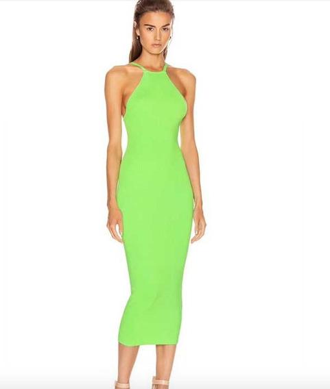 Vestido Mujer Bandage 2020 Herve Leger Verde Tirantes