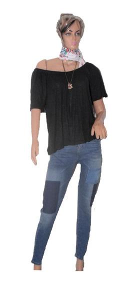 Portsaid Remera De Lino Cuello Bote Color Negra
